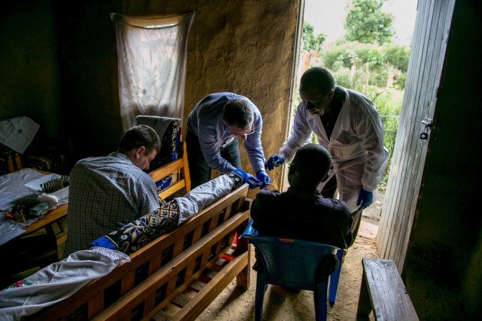 Dr. Lobel and colleagues collecting samples from Ebola survivors in Uganda.